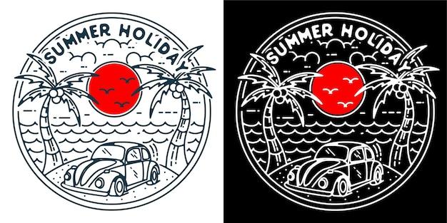로고 배지 문신 스티커 또는 빈티지 복고풍에 대한 여름 휴가 1 로고 모노 라인
