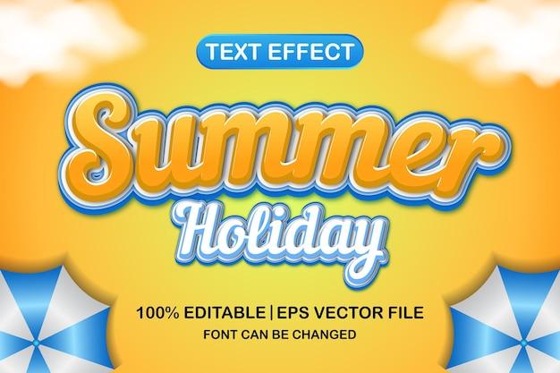 여름 휴가 3d 편집 가능한 텍스트 효과
