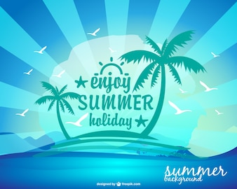 Summer holiday background with an island and palm trees