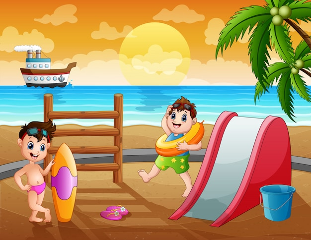 Summer holiday background with children at the beach