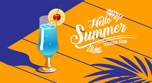 Summer holiday, banner, cocktail