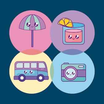 Summer holiday banner set icons