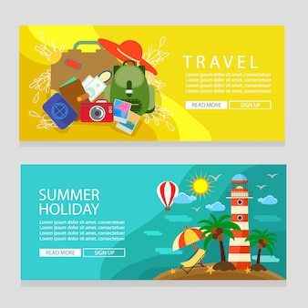 Summer holiday banner template travel and lighthouse theme flat style vector illustration