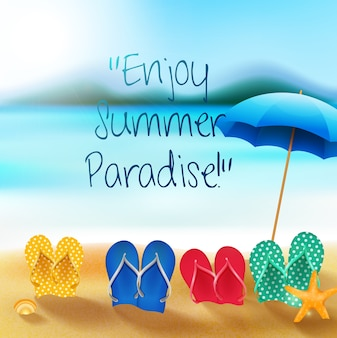 Summer holiday banner with colorful sandals and umbrella