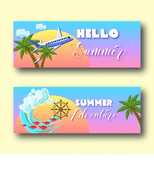 Summer holiday banners set with palm trees