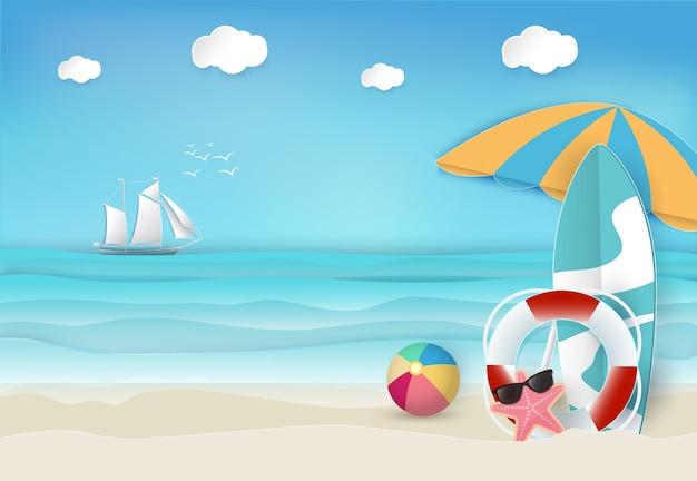 夏の休日のビーチの背景