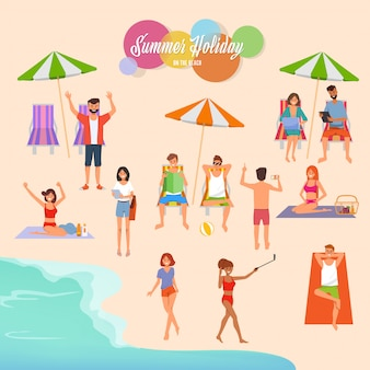 Summer holiday on the beach illustration