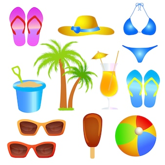Summer holiday beach object set