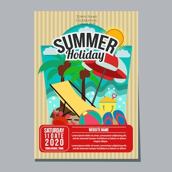 Summer holiday beach relax poster template vector illustration