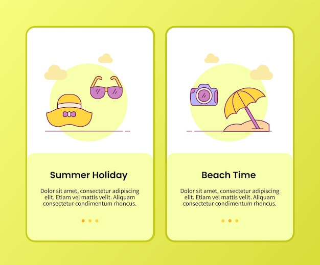 Summer holiday beach time campaign for onboarding mobile apps application template