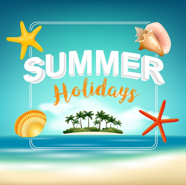 Summer holiday on beach view poster