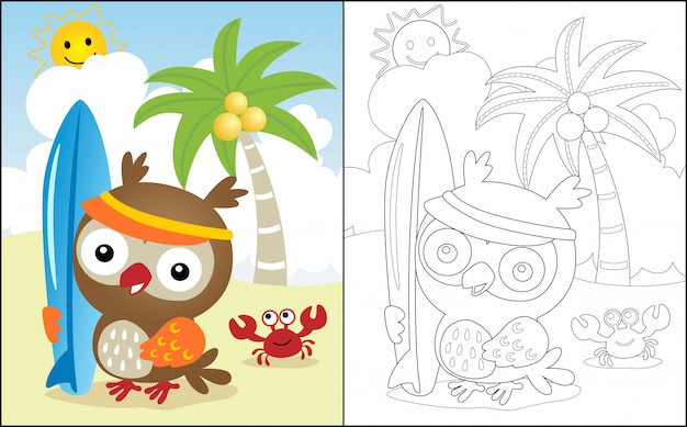 Summer holiday in the beach with owl cartoon