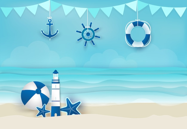 Summer holiday blue background