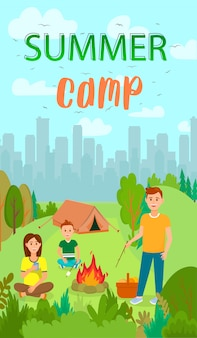 Summer holiday, camping flat flyer with lettering.