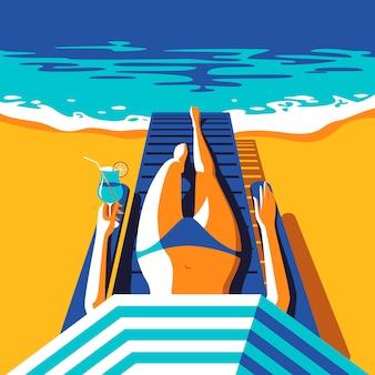 여름 휴가 개념. 해변에서 일광욕 파란색 수영복에 우아한 여자. 바다 배경입니다. 삽화.