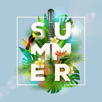 Summer holiday design with toucan bird and acoustic guitar