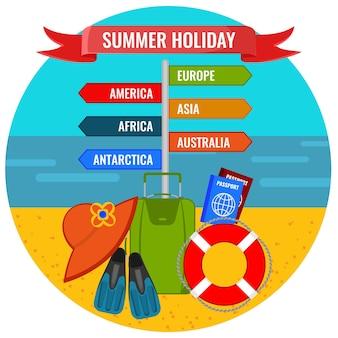 목적지 이름과 해변의 배경에 대한 여행 액세서리 벡터 일러스트와 함께 여름 휴가 방향 기호
