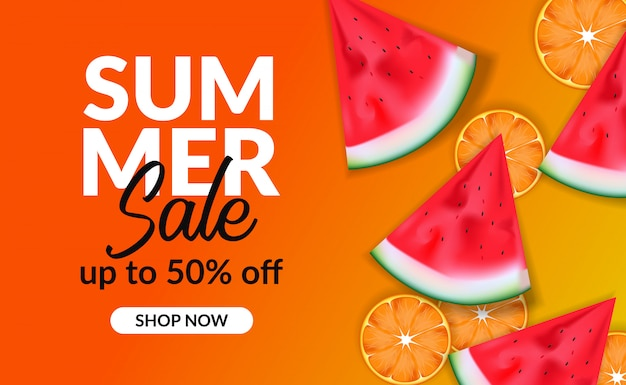 Summer holiday discount banner with watermelon