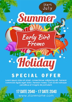 Summer holiday early bird promo poster marine flat style vector illustration