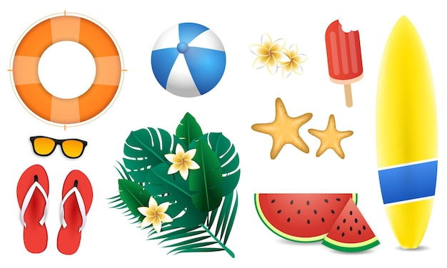Summer holiday elements set