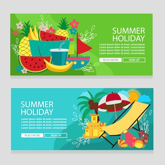 Summer holiday fruit tropical theme banner template with flat style vector illustration