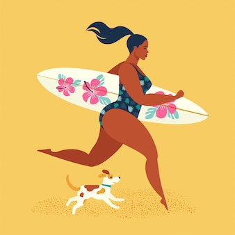 Summer holiday. girl surfer running with a dog.