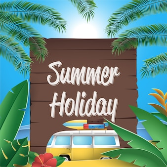 Summer holiday greeting card with wooden sign
