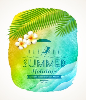 Summer holiday greeting - watercolor background banner with sea waves, palm tree branches and frangipani flowers on shore - illustration
