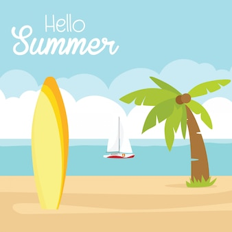 In summer holiday,  happy summer holidays poster. beach surfboard ship sun sea
