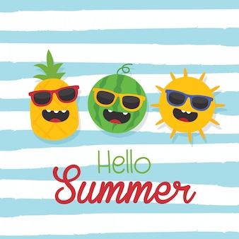 In summer holiday, hello summer text with sun, pineapple, watermelon and wave background