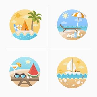 Summer holiday icons set