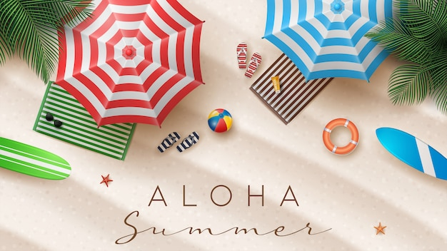Summer holiday illustration with beach ball, palm leaves, surf board and typography letter on beach sands background.