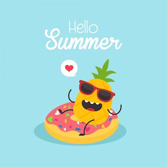 In summer holiday inflatable donut with a pineapple in a swimming pool