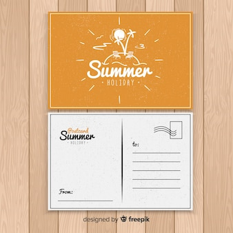 Summer holiday island postcard
