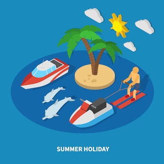 Summer holiday isometric composition