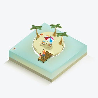 Summer holiday isometric concept