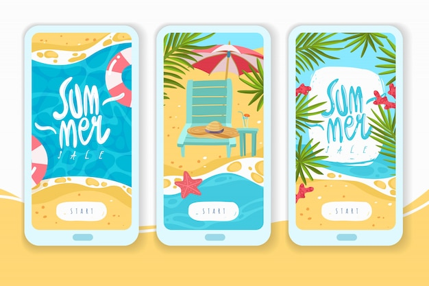 Summer holiday items vertical banners. mobil app pages on the theme of beach holidays cartoon  items verftical banners set