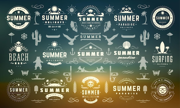 Summer holiday labels and badges design set retro typography for posters and t-shirts. sun icons, beach vacation and tropical island with palm trees elements.