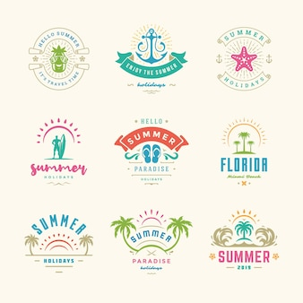 Summer holiday labels and badges retro design set. templates for greeting cards, posters and apparel design. beach vacation logos with palm trees and sun icons vector illustrations.