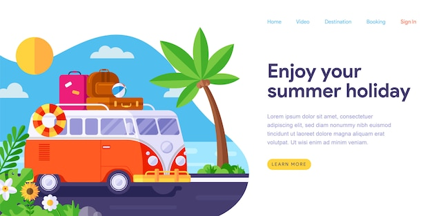 Summer holiday landing page web template