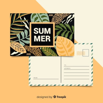 Summer holiday leaves postcard