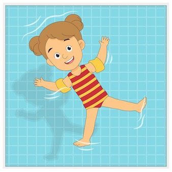 Summer holiday,little kid playing on the pool Premium Vector