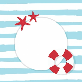 In summer holiday, nautical card with starfish and lifebuoy