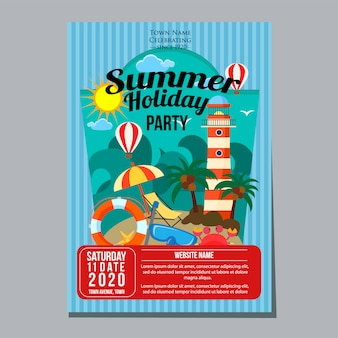 Summer holiday party poster template lighthouse beach theme vector illustration