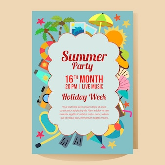 Summer holiday party poster template with beach theme flat style vector illustration
