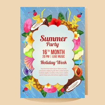 Summer holiday party poster template with colorful drink vector illustration