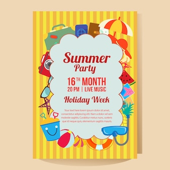 Summer holiday party poster template with travel theme flat style vector illustration