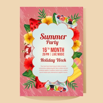 Summer holiday party poster with colorful object refreshment vector illustration