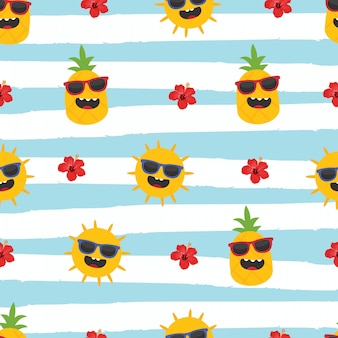 In summer holiday, pineapple, sun and hibiscus on striped background