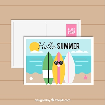 Summer holiday postcard in flat style